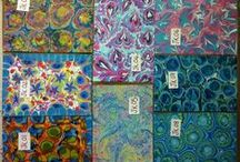Paper Marbling / Marbling done by me - Larissa Don and other Marbling Fabrics I have found.