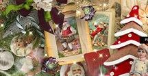 Vintage Xmas Time by PerlineDesign - Ct pages with the kit, quickpages and clusters