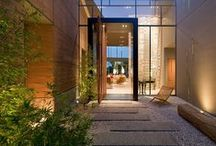 architectural entrances and outdoors / entrance's building, hall, way in, outdoor, area outside house, landscape, garden, pool.