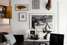 Walls / Ideas for family room wall, using stags head and also for photo gallery