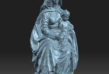 Virgen sentada con niño / Digitalización 3d de una talla de madera policromada que representa a la Virgen sentada con el niño Jesús