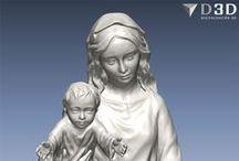 Virgen con niño andando / Digitalizado 3d del modelo en barro de una Virgen joven con niño andando. Escultura para fabricar en madera.