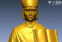 San Osmundo / Escaneado 3d de la escultura en madera tallada de San Osmundo. La digitalización se realizó antes de que la imagen se policromara.