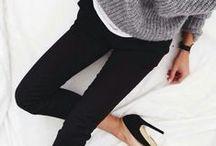 Style // Autumn Winter board / Black, white, grey, blue, light pink, khaki green, stripes, denim