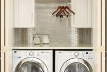 HOME : Laundry Lust / laundry room, cabinets, shelves, shelving, storage, countertop, folding, washer, dryer, stacked, stackable, hanging, clothes, sink, floors, basket