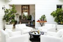 HOME : Outdoor Space / garden, fire pit, modern, sitting area, outdoor furniture, patios, gravel, minimal