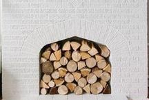 HOME : Stacked / wood, fireplace, logs, decorative, chopped