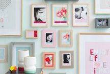 HOME : Gallery Wall  / photos, wall, grid, color, black and white, mix and match, wood, metal, antique, frames, art, photography