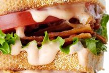 Burgers, sandwiches, paninis . . . / Food items consisting of one or more types of food placed on or between slices of bread, or any dish where two or more pieces of bread serve as a wrapper for some food