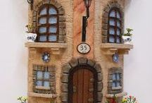 decorative miniature houses with tiles