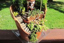 Fairy garden and tiny house