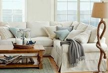 Favorite Beachy Living Spaces / Beautiful beach home family living spaces - love the beach decor!