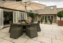 The Perfect Courtyard Garden with Limestone Patio / Featuring over 270 square metres of our popular Raj Beige limestone flagstones, this stunning family home by Rixon Architects of Cirencester provides a wealth of secluded entertaining space within the beautifully appointed courtyard garden.