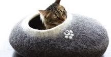 Pet beds / cat houses / cat caves by Wooppers / A collection of furniture for your favourite pet to curl up, rest or nap lovingly made by Wooppers in natural undyed wool.
