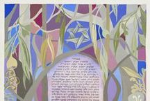 Customised Ketubot / These Ketubah designs have been developed in collaboration with individual couples getting married. All text is hand written by me in consultation with officiating rabbis or celebrants.