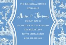 Blue and white wedding invitations etc / Blue and White always a favorite! Never out of style!