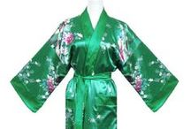 On aime le vert / Robes chinoises vertes et kimonos verts