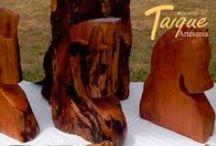 Artesanía con Madera e insumos Nativos / Tallados en Madera Nativa y Decorativos con Quila(Bambú Chileno)