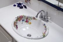 Traditional Bathroom Ideas with Hand-Painted Sinks / Guest bath, powder room or master bath, here are some bathroom design ideas to get your creative juices flowing all featuring our original hand-painted sinks and toilets. All of our fixtures are kiln-fired for lasting durability and decorated by hand in the USA. / by Decorated Bathroom