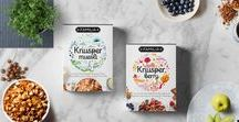 Knusper Muesli :: Packaging / Knusper is proud to offer a product that is not only it is an organic and all natural grain diet but also one that tastes great. This brand is marketed as organic granola for young adults and millennials. The illustration surrounding the brand not only describe the flavour of each product but also exudes a happy and healthy lifestyle. The brand typography is very personable and modern. The typography treatment for the nutritional info and recipe are clean and mature.