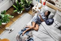 spaced out. / Natural light, wide windowsills, cushy textiles, plants, wood, legs in the right places.