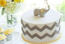 Yellow and Gray Elephant Baby Shower Party ideas