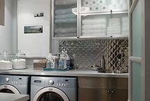 Lavanderia / Pocos metros,orden y estética para: máquinas, artículos de aseo, tabla planchar, ropa sucia, ropa blanca.
