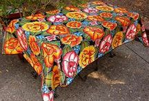 custom Mexican oilcloth tablecloths / Oilcloth tablecloths are bright, fun, durable, practical and jazz up your kitchen, patio or deck. We specialize in custom tablecloths for odd & oversize tables.  Also available by the foot & roll.