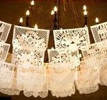 custom wedding papel picado banners / These delicate papel picados, or paper lace, add beauty and elegance to a wedding. They are beautifully hand cut and can be customized with the names of bride & groom and look great fluttering overhead in the reception area, patio, restaurant or home. These have been a Mexican tradition for any celebration since the 17th century.