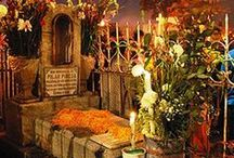 Ofrendas - Day of the Dead / Ofrendas altars are built in the Mexican home to honor the departed loved one being remembered. Everything the muerto would enjoy is put on the ofrenda: homemade food, bread, flowers, music, favorite possessions & sugar skulls!