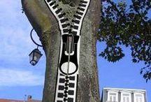 trees/street art / decorated trees