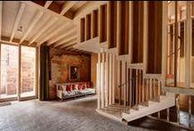 Exposed ceiling wood