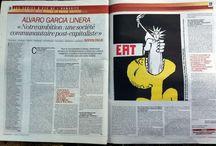 L'affiche en regard / Paru dans l'Huma / Aperçu des doubles pages parues dans l'Huma à l'été 2013, série graphique travaillée avec Gérard Paris-Clavel, en kiosque, tous les jours jusqu'au 30 août 2013