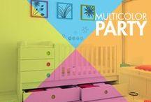 MULTICOLOR ROOMS / Habitaciones de bebés, cunas convertibles y muebles infantiles multicolores ¡Porque la vida es divertida y de color arcoíris!
