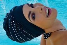 Swim Caps and Turbans / Protect your hair condition and colour from sun, salt water, and chlorine damage. Great for protecting expensive extensions too. No more straggly wet hair!