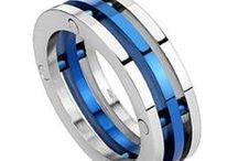 Stainless Steel / Thin Red Blue Line rings, bracelets, and more made with stainless steel