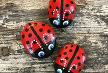 pebbles and stones - Ladybugs