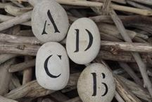 pebbles and stones - Letters and Numbers