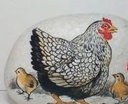 pebbles and stones - Hen and Rooster