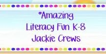 ***Amazing Literacy Fun! K-8 Jackie Crews / ELA only please. This is not a math board or classroom management board. THREE PINS PER DAY. Long pins will be removed.  Do your best to remove duplicates.  DO NOT advertise your store.