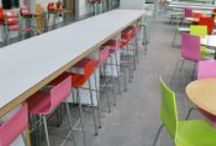Student Union Bar stools / Retro bar stools with coloured seats for student bar areas.