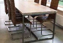 Industrial table White Ash Wood