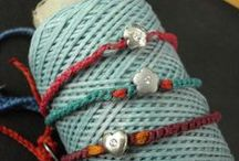 Summertime bracelets / Hand made bracelets made of silver elements,half-precious stones and cords by Eirini Svarnia