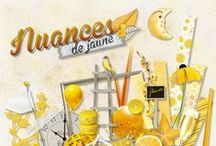Kit Nuances de Jaune / Scrapbooking, scrap, yellow, sun, holiday, template, layout, sketche