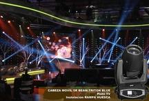 5R beam de triton blue en acción / Cabezas móviles Triton Blue 5R Beam en un rodaje de TV