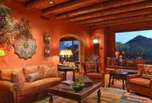 Hillside Hacienda / Hillside Hacienda, Interior Design, Construction Remodel, Spanish Style Decor, Wood Beams, Fireplace, Living Room, Powder Bathroom, Hacienda, Luxury Home, Luxury, Home Decor, Master Bathroom Remodel, Master Bathroom, Shower, Barreled Ceilings, Spanish Archways,