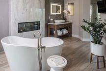 Master Spa Retreat / Master Spa Retreat, Interior Design, Construction Remodel, Master Bathroom Remodel, Wood Flooring, Bath Tub, Sauna, Shower, Luxury Bathroom, Luxury, Luxury Home, Fireplace, Bathroom Fireplace,