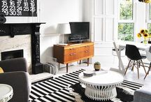Mono Chrome Scandi Living / Stylishly tonal Scandinavian interiors that focus on the black, white and grey and natural materials