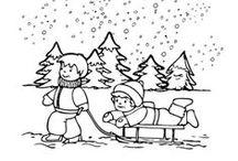 Thema winter kleurplaten voor kleuters/ Winter coloring for preschool / Kleurplaten voor kleuters, winter / Winter coloring for preschool