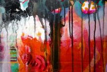 Intuitive painting / Letting go of the judge and allowing 'stream of colours and images to arrive'. Having fun.